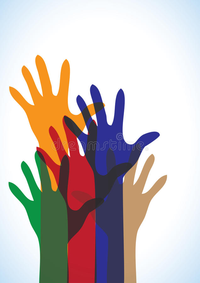 Holi - Vector Colorful Human Hands stock illustration