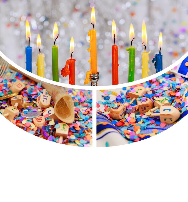 Holida judío Jánuca de la celebración tradicional de Hanukkah Menorah Chanukiah fotos de archivo