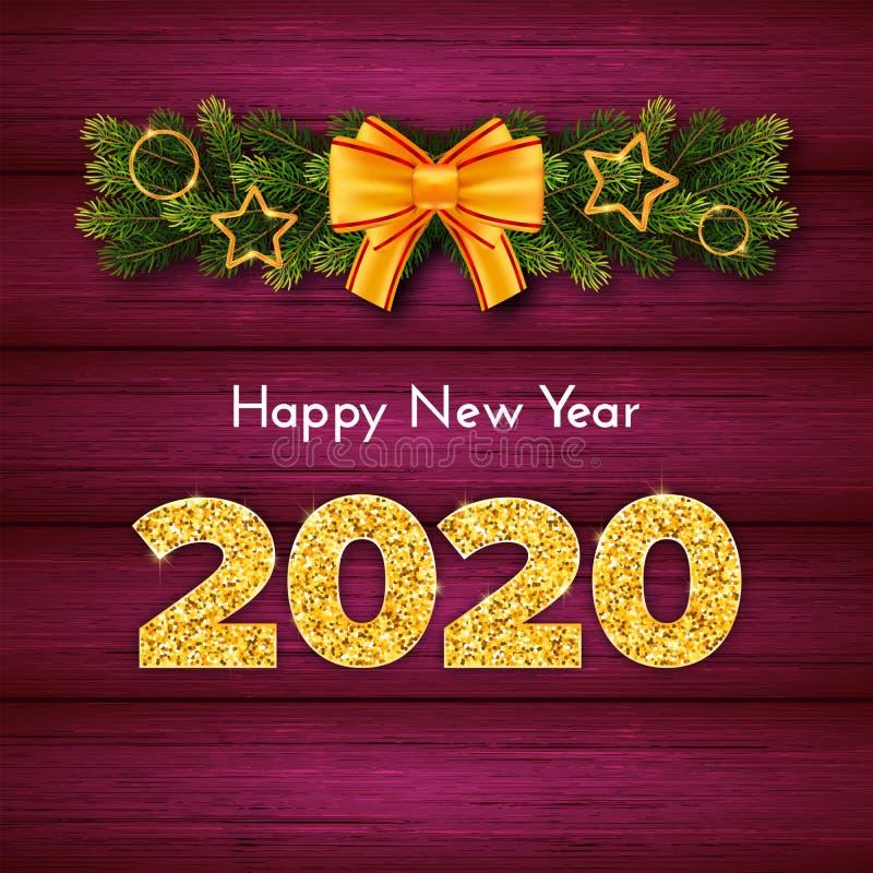 Holidagsgåva - nytt år Golden number 2020, fir tree industries garland and bined bow on wood background royaltyfri illustrationer