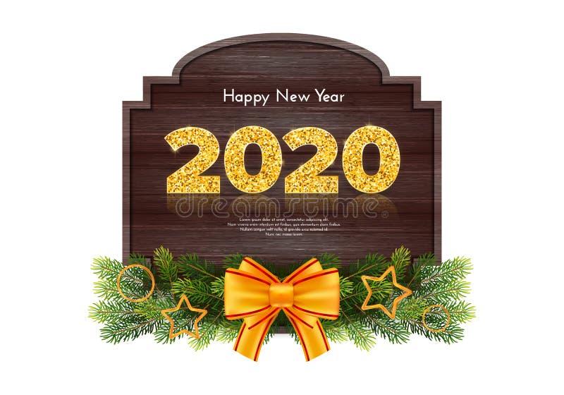 Holidagsgåva - nytt år Golden number 2020, fir tree industries garland and bined bow on wood background firande stock illustrationer