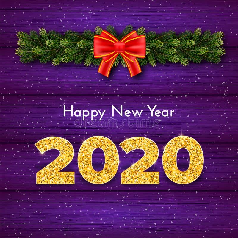 Holidagsgåva - nytt år Golden number 2020, fir tree industries garland and red buned bow on wood background firande vektor illustrationer