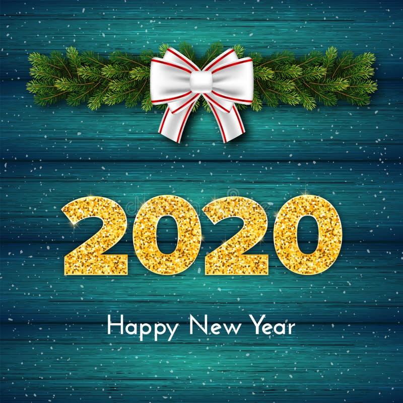 Holidagsgåva - nytt år Golden number 2020, fir tree industries garland and white bundet bow on wood background stock illustrationer