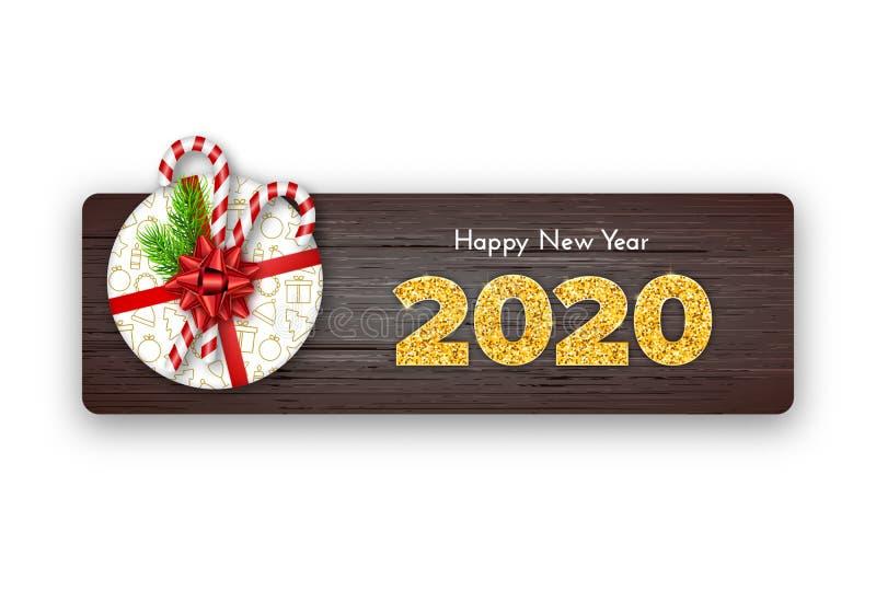 Holidagsgåva - nytt år Golden Number 2020 on wood background Fir trädgrenar, bundet röd båge och godis på toppen stock illustrationer