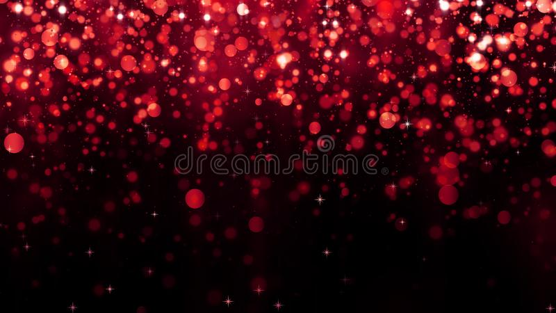 Holiday abstract red background with falling glitter particles. Beautiful festive sparkling luxury background. Shiny particle vector illustration