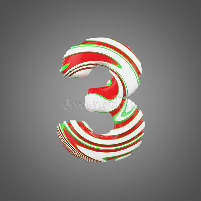 Holiday Alphabet Number 3  Christmas Font Made Of Peppermint Candy Canes  3d Render  Stock