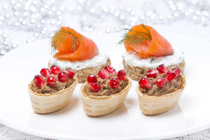 Holiday appetizers - canape with salmon, tartlet with liver pate royalty free stock photography