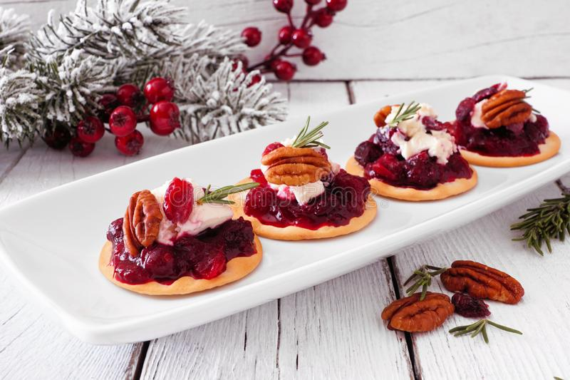 Holiday appetizers with cranberries, goat cheese and pecans on a serving plate, close up against white wood. Holiday appetizers with cranberries, goat cheese and stock photos