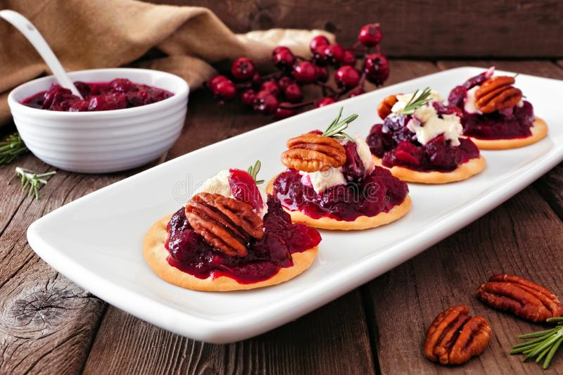 Holiday appetizers with cranberries, goat cheese and pecans on a serving plate, close up table scene against wood royalty free stock photo