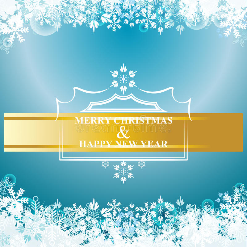 Holiday background of Christmas and happy new year vector. A Christmas and happy new year vector card with snowflake on blue gradient background eps 10 stock illustration