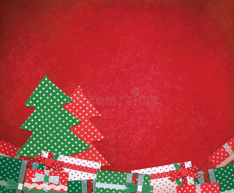 Holiday background with Christmas tree and gifts, handmade Chris royalty free stock photos