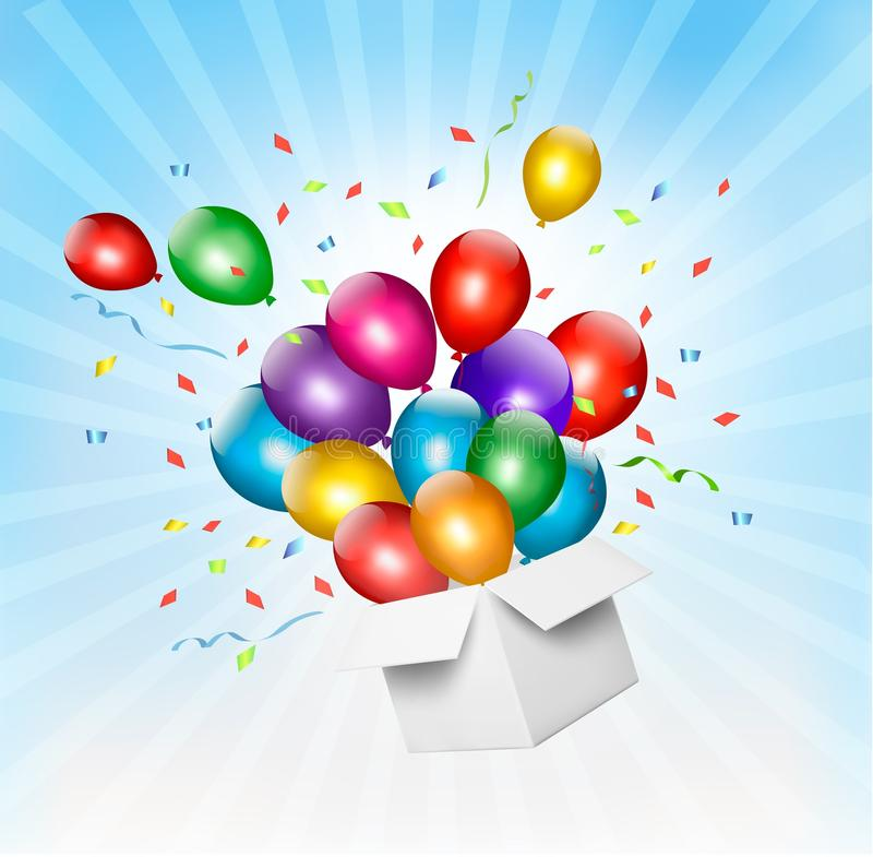 Holiday background with colorful balloons and open box. vector illustration