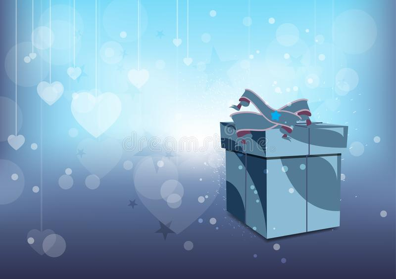Holiday background with gift box with ribbon. Vector vector illustration
