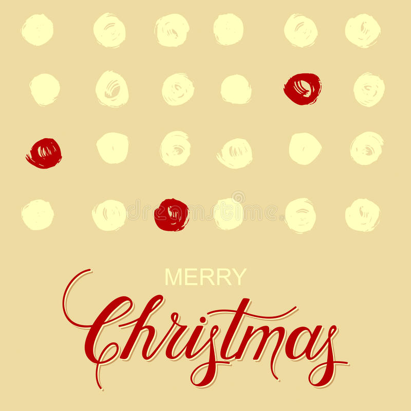 Holiday background with grunge cirlces and hand drawn words merry christmas. Vector holiday background with grunge cirlces and hand drawn words merry christmas stock illustration