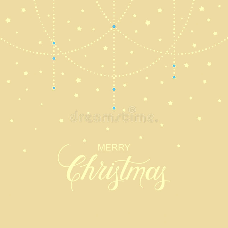 Holiday background with hand drawn words merry christmas and gentle garland. Vector holiday background with hand drawn words merry christmas and gentle garland royalty free illustration