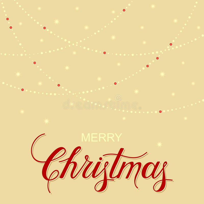 Holiday background with hand drawn words merry christmas and gentle garland. Vector holiday background with hand drawn words merry christmas and gentle garland vector illustration