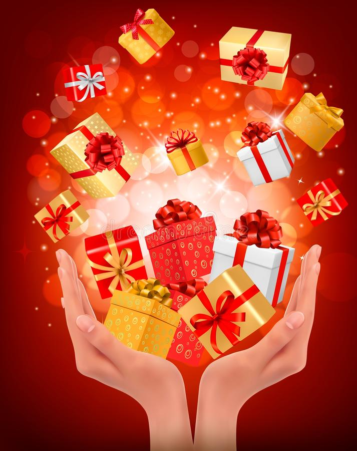 Holiday background with hands holding gift boxes. Concept of giving presents. Vector illustration royalty free illustration