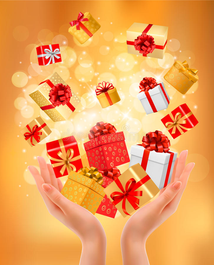 Holiday background with hands holding gift boxes. Concept of giving presents. Vector illustration stock illustration