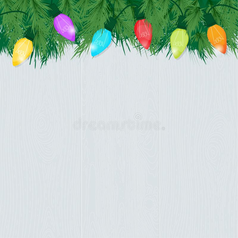 Holiday Background light wood with branches and Christmas lights. Christmas Colorful Glowing Lights and Pine Branches on Whitewashed Wood Background; Retro style stock illustration