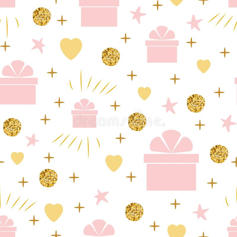 Holiday background seamless birthday pattern with gift box gentle pink golden colors stock illustration