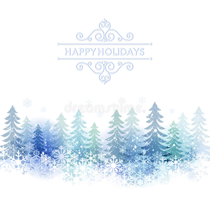Holiday background with snow scenery vector illustration