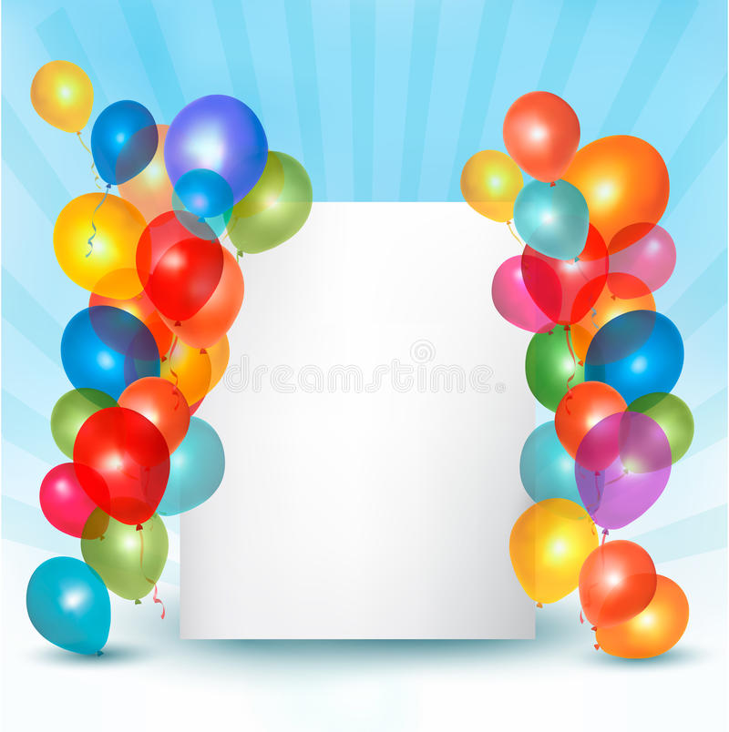 Holiday balloons frame composition stock illustration