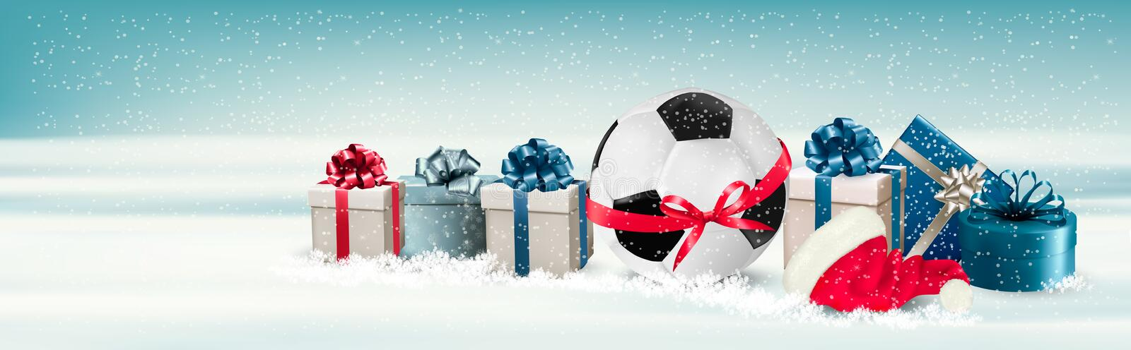 Holiday Banner with a Gift Boxes and Soccer Ball. vector illustration