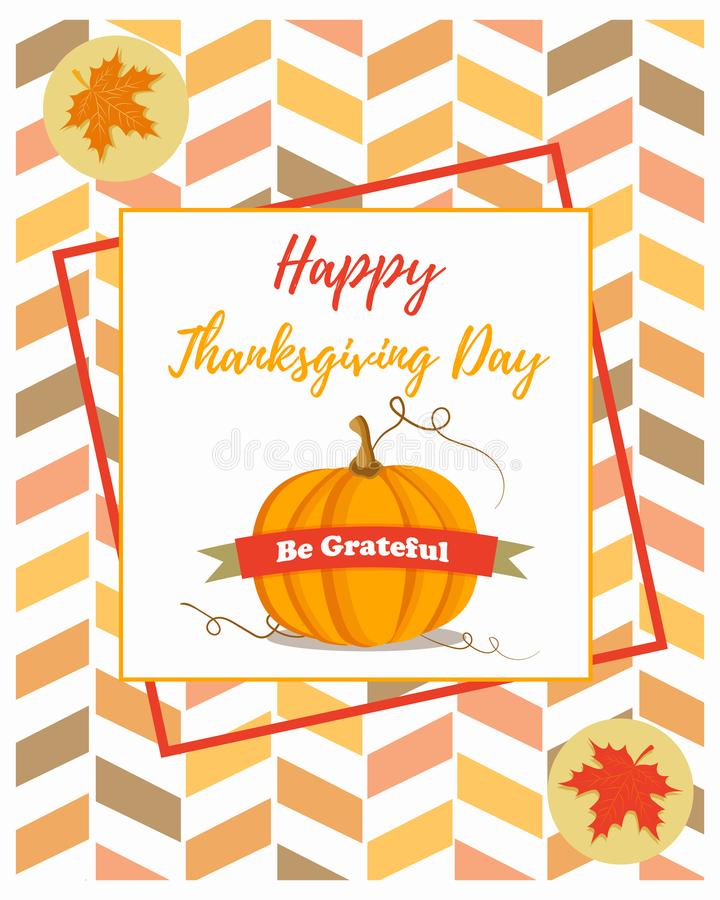 Holiday banner with pumpkin for Thanksgiving day. royalty free illustration
