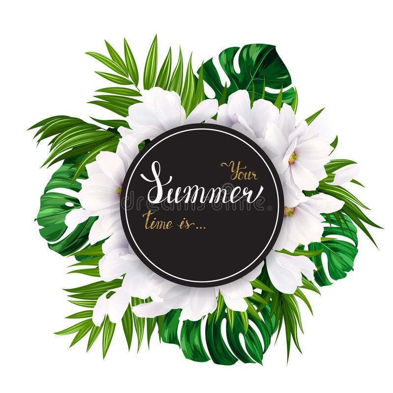 Holiday banner with tropical palm, monstera leaves and magnolia blooming flowers on the white background. White and gold stock illustration