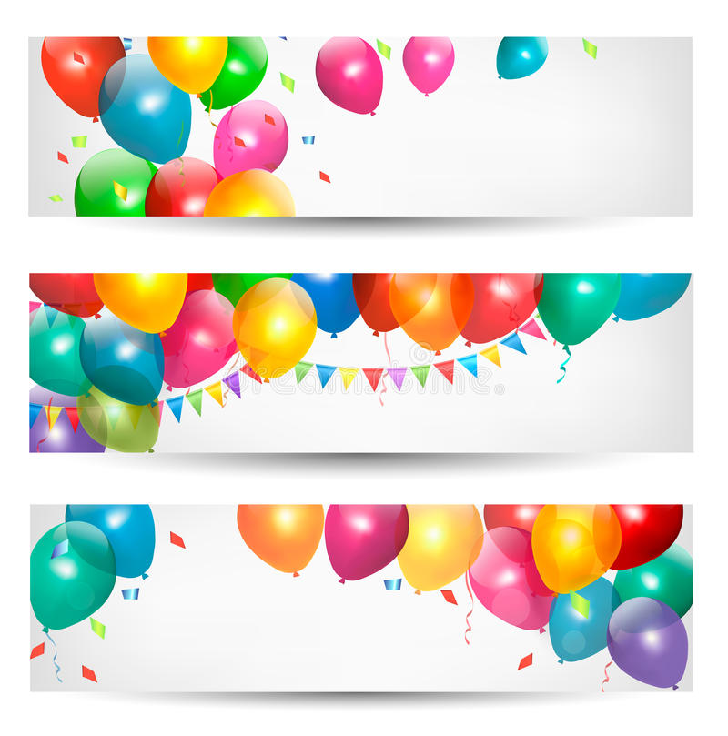 Holiday banners with colorful balloons royalty free illustration