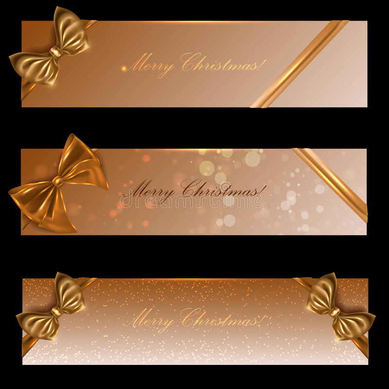 Holiday banners with gold ribbons, the vector stock photography