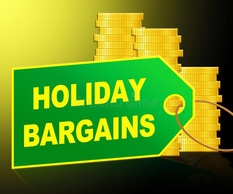 Holiday Bargains Representing Vacation Discounts 3d Illustration. Holiday Bargains Label And Coins Represents Vacation Discounts 3d Illustration royalty free illustration