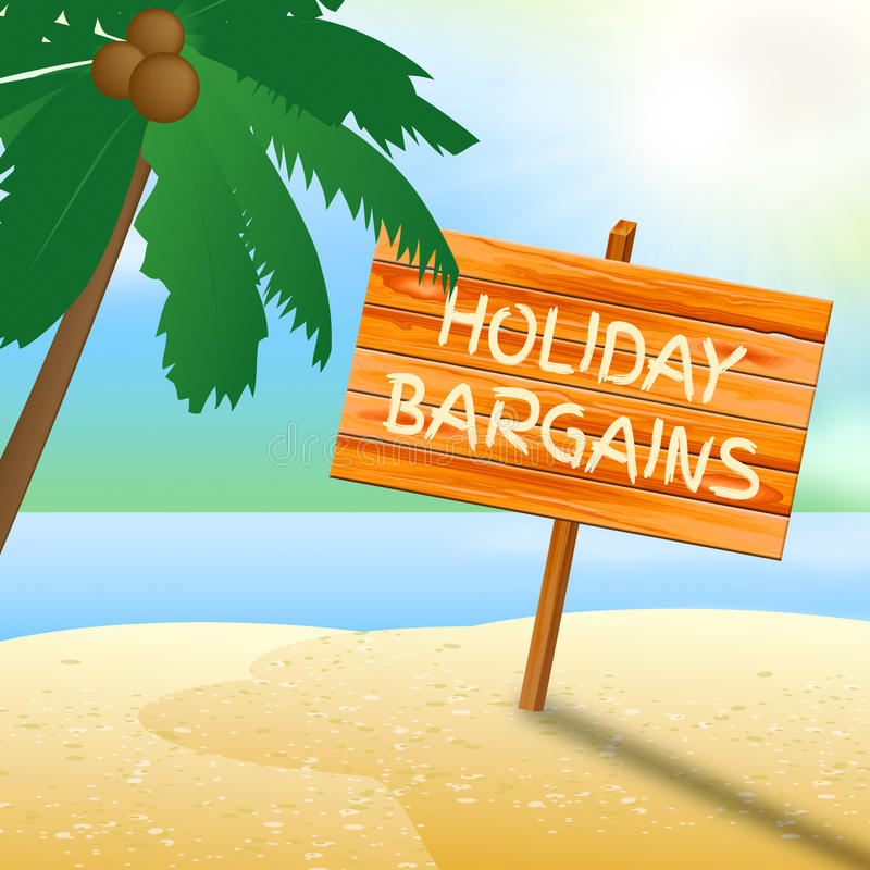 Holiday Bargains Shows Go On Leave And Advertisement. Holiday Bargains Indicating Go On Leave And Time Off stock illustration