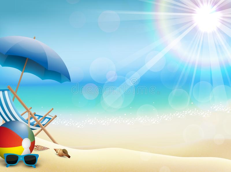 Holiday in beach on the summer with ball volley and sunglasses stock illustration