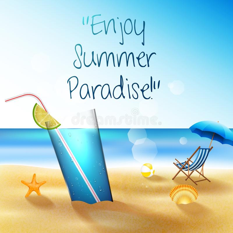 Holiday on beach summer with drinks, starfish and shells royalty free illustration