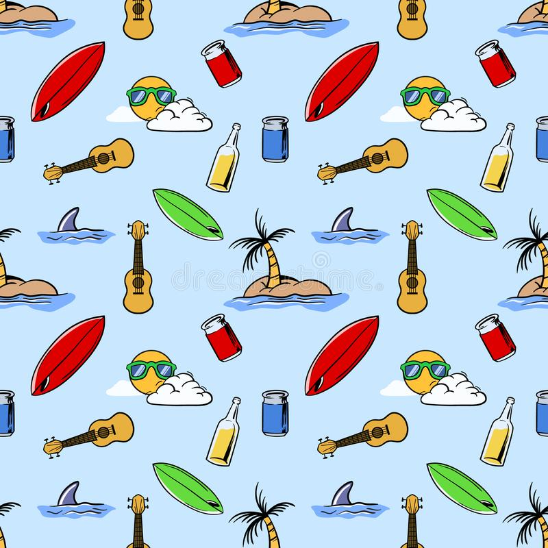 Holiday Beach Theme Seamless Pattern stock illustration
