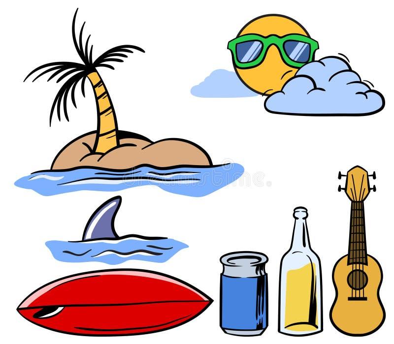 Holiday Beach Theme Stuff Set stock illustration