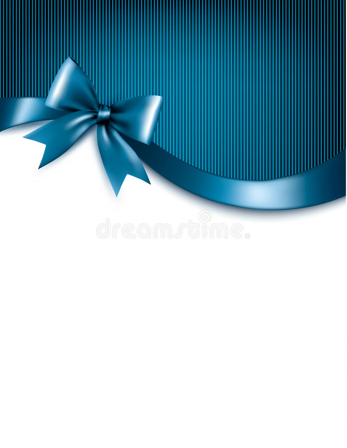 Holiday blue background with red gift glossy bow and ribbons. vector illustration