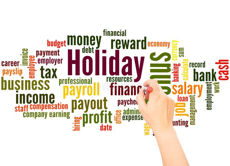 Holiday bonus word cloud and hand writing concept. On white background stock images