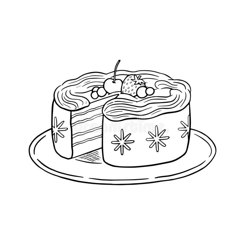 Holiday cake with berries and whipped cream, black and white line art doodle drawing vector. royalty free stock images