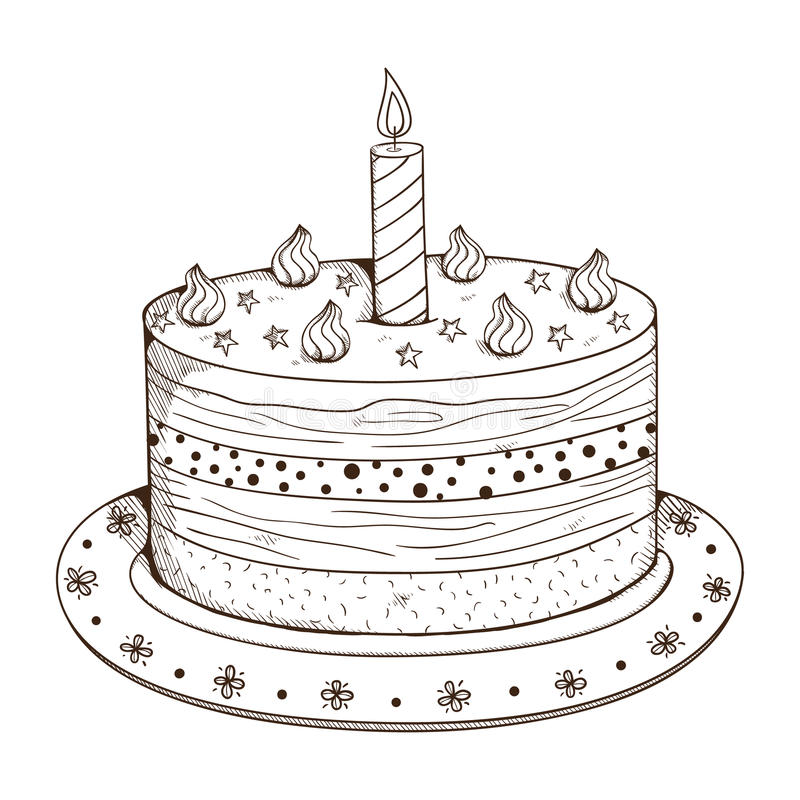 Holiday cake with candle. stock illustration