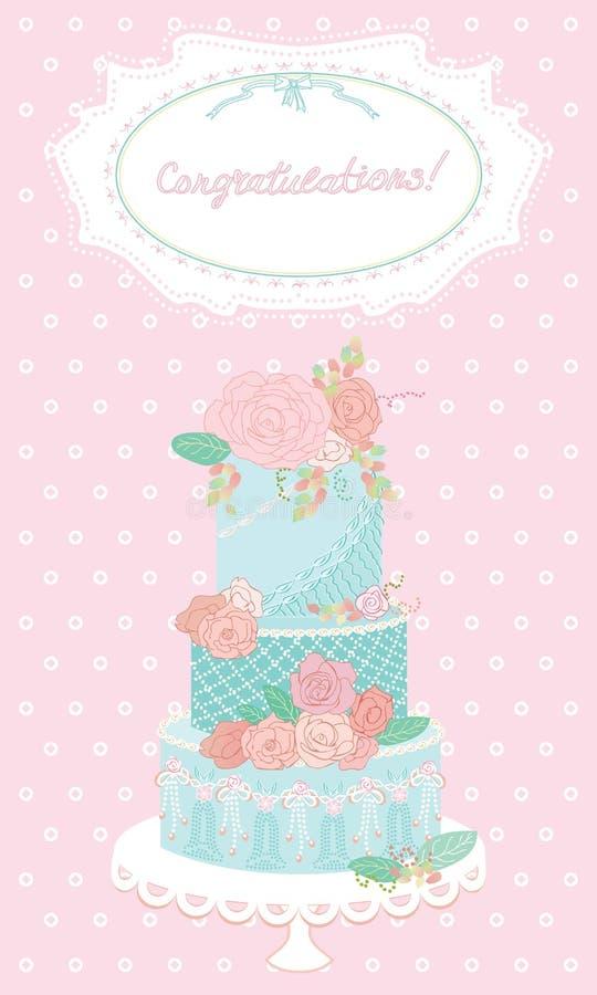 Holiday Cake. Greeting Card. Wedding Card. Wedding royalty free stock image