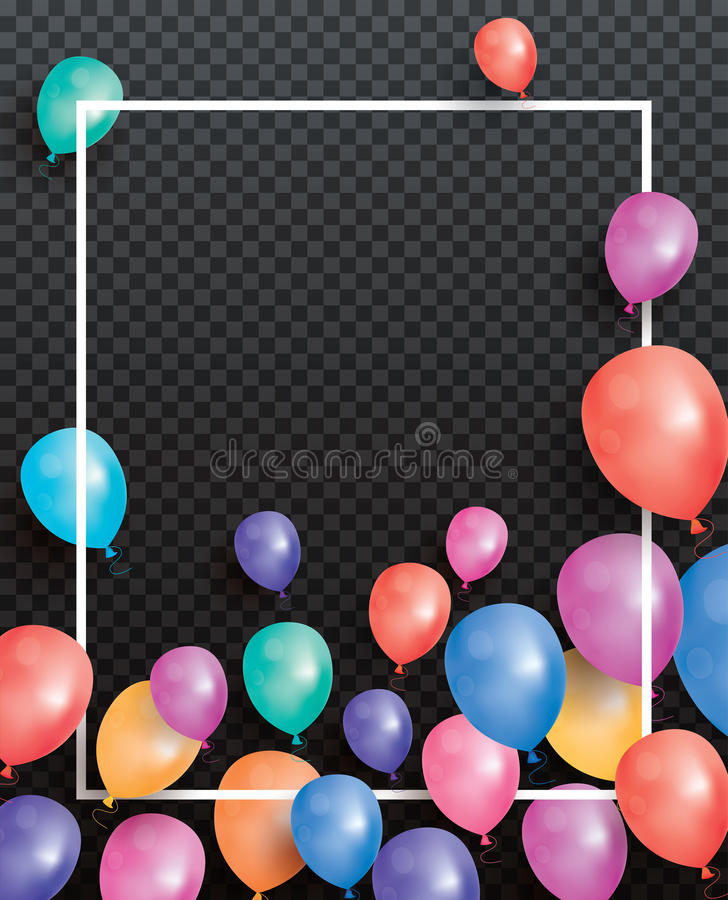 Holiday card with balloons and white frame on transparent backgr royalty free illustration