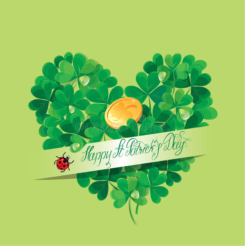Holiday card with calligraphic words Happy St. Patricks Day stock illustration