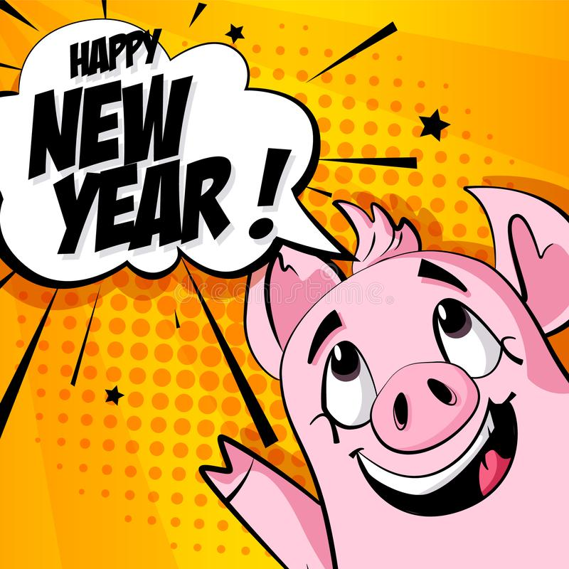 Holiday card with cartoon pig and text cloud on orange background. Vector banner in comics style.  stock illustration