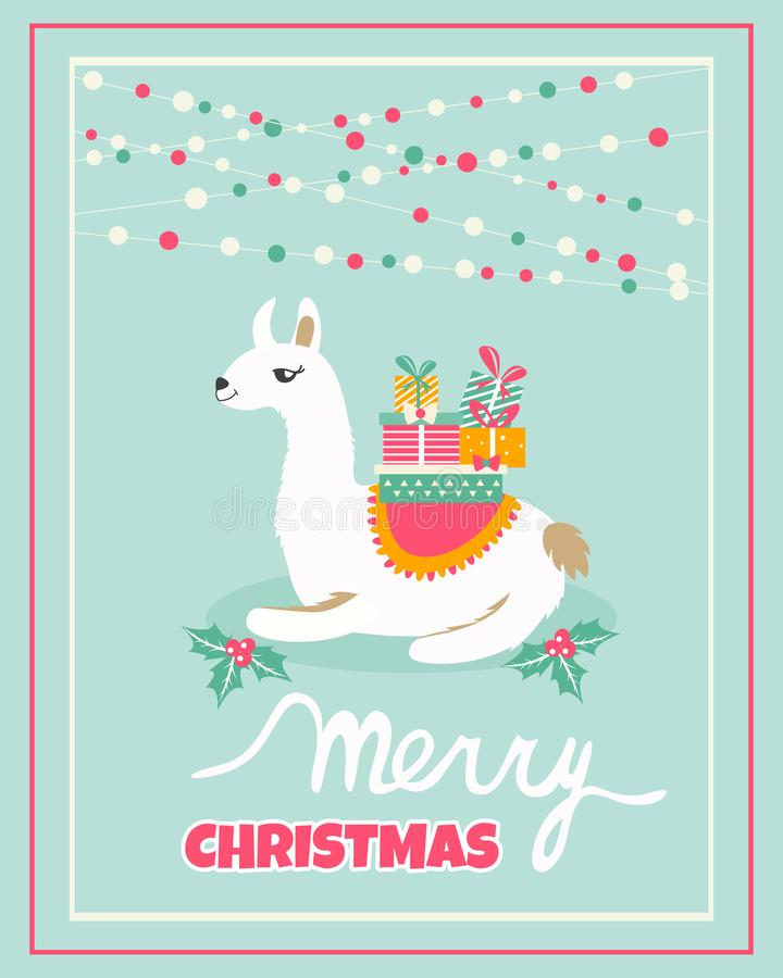 Holiday card with cute lama and presents vector illustration