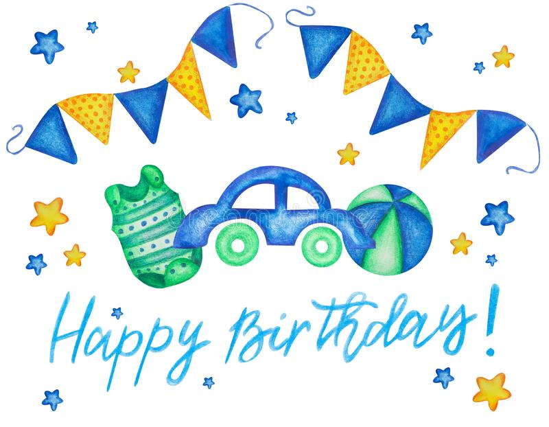 Holiday card design with watercolor hand drawn toy car ball and bodysuit. Baby shower. Happy birthday baby boy. Its a boy royalty free illustration