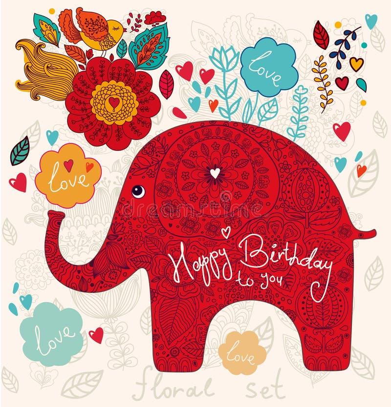Holiday Card With Elephant Royalty Free Stock Photo