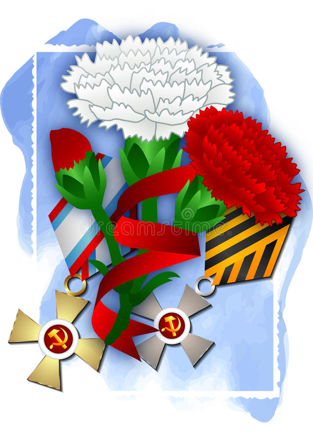 Holiday card for February 23 or May 9. Holiday greeting card with soviet awards and carnations on blue watercolor background for Defender of Fatherland day in vector illustration