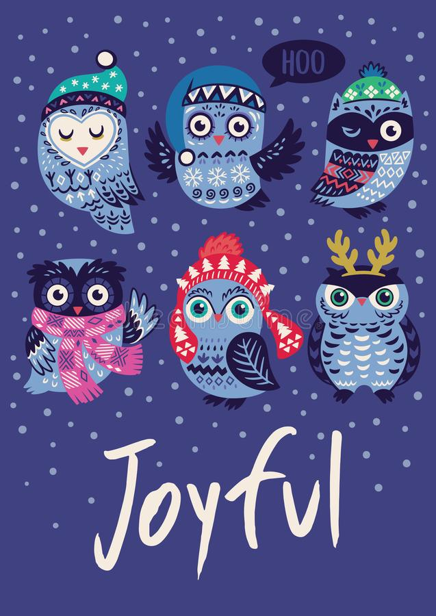Winter print with cartoon owls and text Joyful in vector. Holiday card with hand drawn cartoon owls on blue background. Joyful text. Winter birds in cozy scarf stock illustration