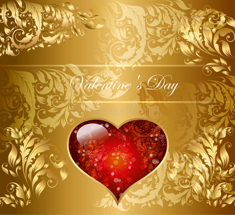 Download Holiday card with heart stock vector. Image of gold, elegant - 23196868